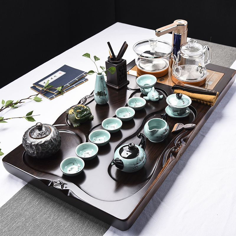 Ebony pear solid wood tea plate complete set of ceramic kung fu tea set office home fully automatic glass one