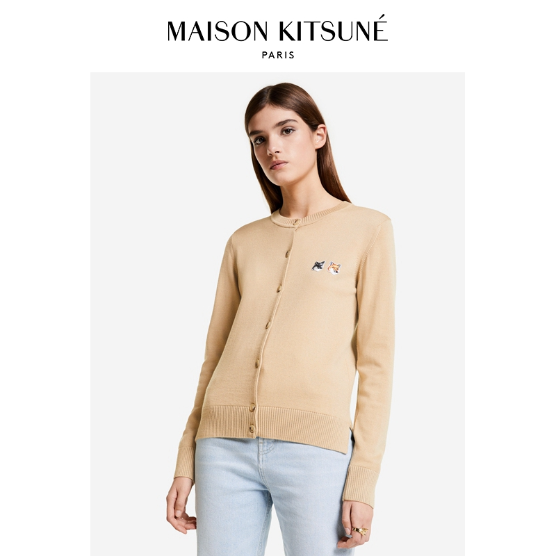 Maison Kitsune 2021 spring and summer new two-headed Fox wool cardigan Women sweater sweater sweater