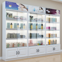 Glass display cabinet with lock door transparent light cosmetic display cabinet Display cabinet Beauty salon product display cabinet