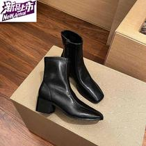 Home 2020 autumn new square head thick-heeled side H pull-up Martin boots with J British breathable casual boots girl.