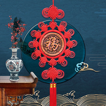 Tianyiji Chinese knot pendant living room large peach wood unicorn blessing word video wall Feng shui lucky entrance video wall