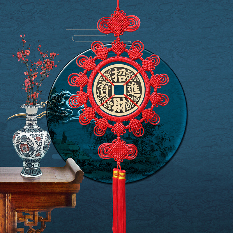 Tianyuji Chinese knot living room wall pendant large feng shui copper money into Baoxuanguan Qiao moved to open