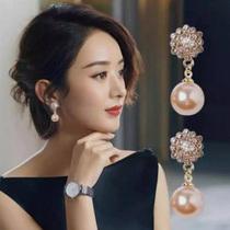 Korean pearl drop earrings temperament high-class atmosphere set with diamonds vintage sterling silver earrings 2021 new fashion short earrings