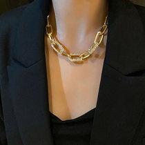Korean thick chain necklace female ins hip hop clavicle chain 2021 new niche design gold exaggerated accessories