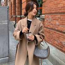 Cashmere coat womens long high-end loose Hepburn wind thin camel color autumn and winter long knee double-sided coat