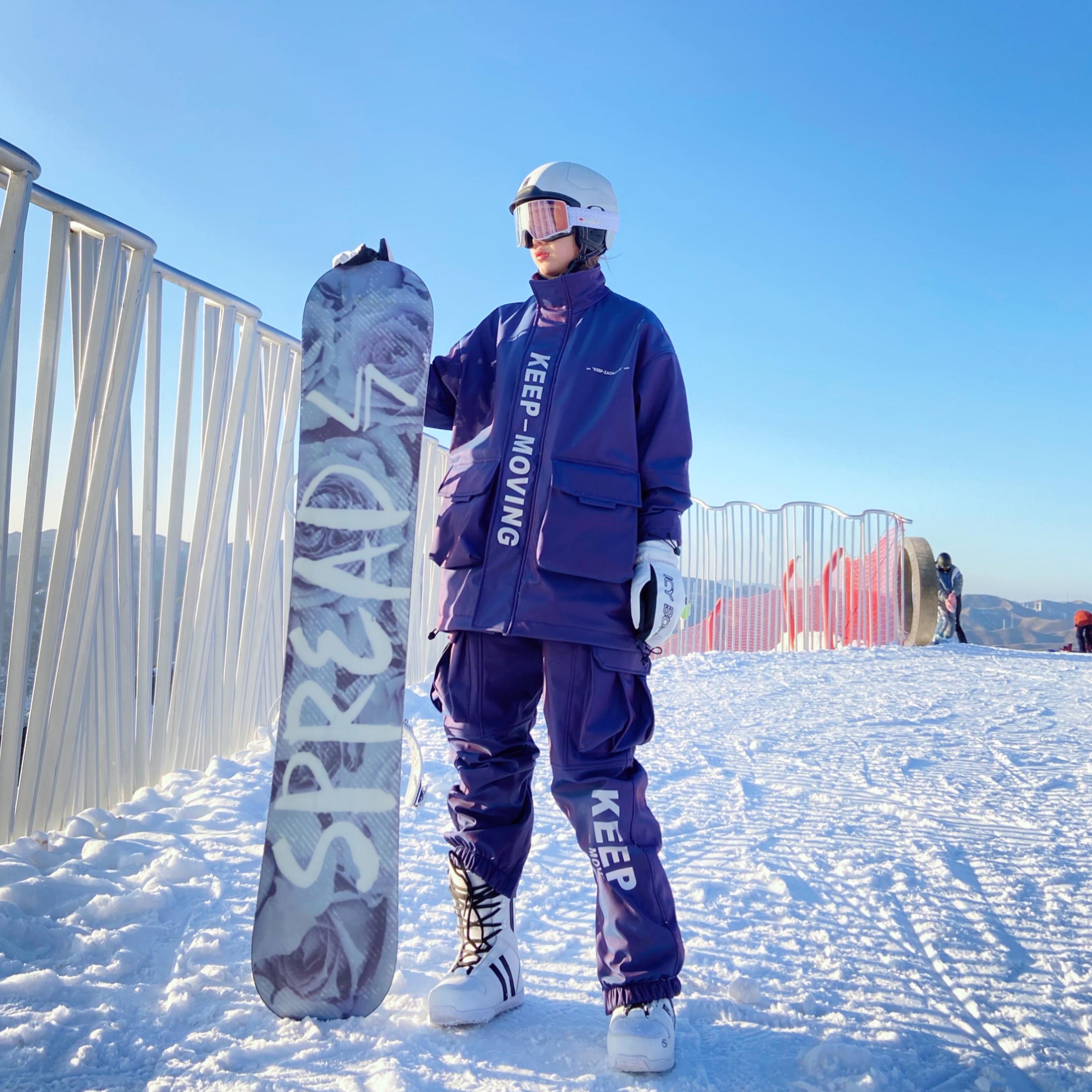 Zachariah ski suit mens single board double board waterproof plus thick purple dazzling reflective snowboarding suit girl