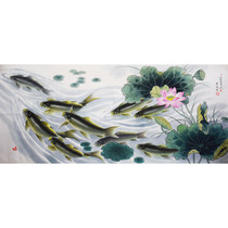 Korean animals Chinese painting 1 9 meters painting fish famous Jin shengming Lotus and fish living room decorative painting 820