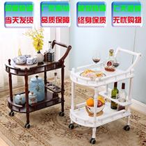 Solid wood trolley dining cart Nordic trolley coffee table restaurant silent bar fruit plate rubber wheel ancient four wheels