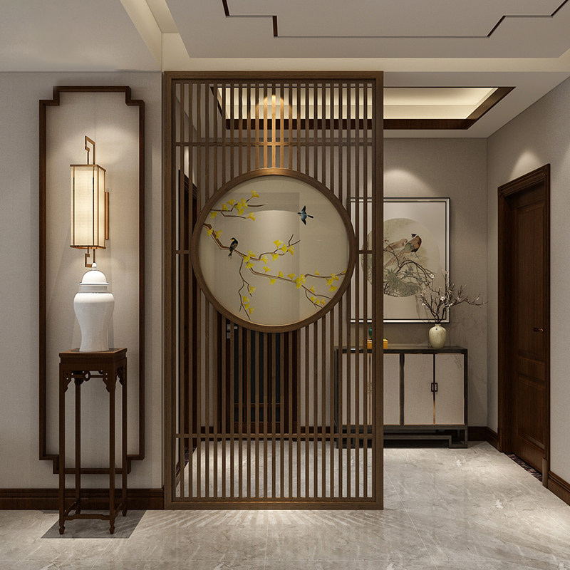 Dongyang wood carving new Chinese solid wood flower grid window partition hollow antique doors and windows living room carved windows mysteriously closed