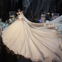 Main wedding dress 2021 new bride temperament pregnant woman word shoulder big tail court style French advanced texture summer