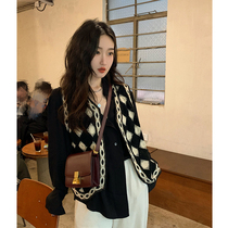 Ren Xiaoyi Litemode black Lingge retro knitted vest 2021 new female Spring and Autumn wear vest top