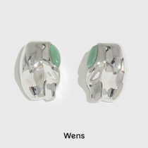 Wens body series inlaid with natural stone hip earrings designer 21 autumn and winter New Advanced sense