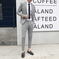 Suit mens suits Korean slim non-iron British style small suit two-piece male business occupation youth dress tide