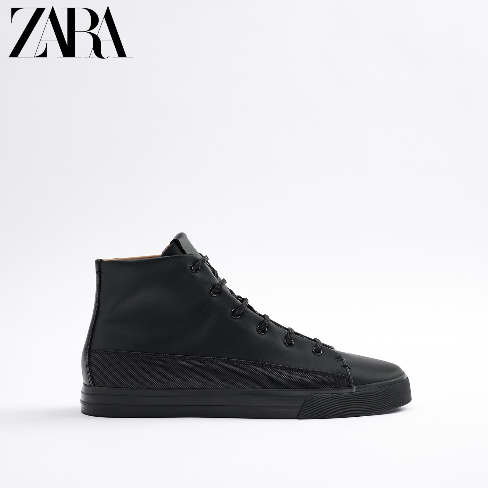 ZARA new men's shoes black sports short boots 12107620040