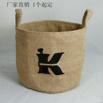 Venvenbe bag Huangma Bottom finishing bag drawstring bag storage bag hanging bag small cotton hemp Bag flowerpot Basket