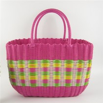 Plastic woven shopping basket hand-held vegetable basket pet box to buy vegetable bath basket bathroom rattan bath basket to collect picnic
