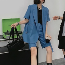 Large size womens clothing in the summer of 2021 new high-end sense fried street short-sleeved loose meat cover blazer shorts suit
