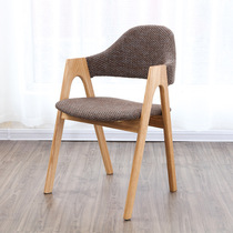 Thai a-word chair Real wood dining chair simple white oak armrest back soft bag coffee shop chair