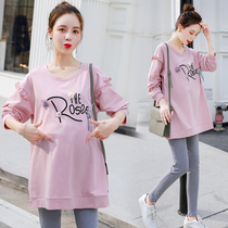 Maternity dress spring and autumn fashion sweater plus velvet autumn T-shirt in the long section of loose clothing dress