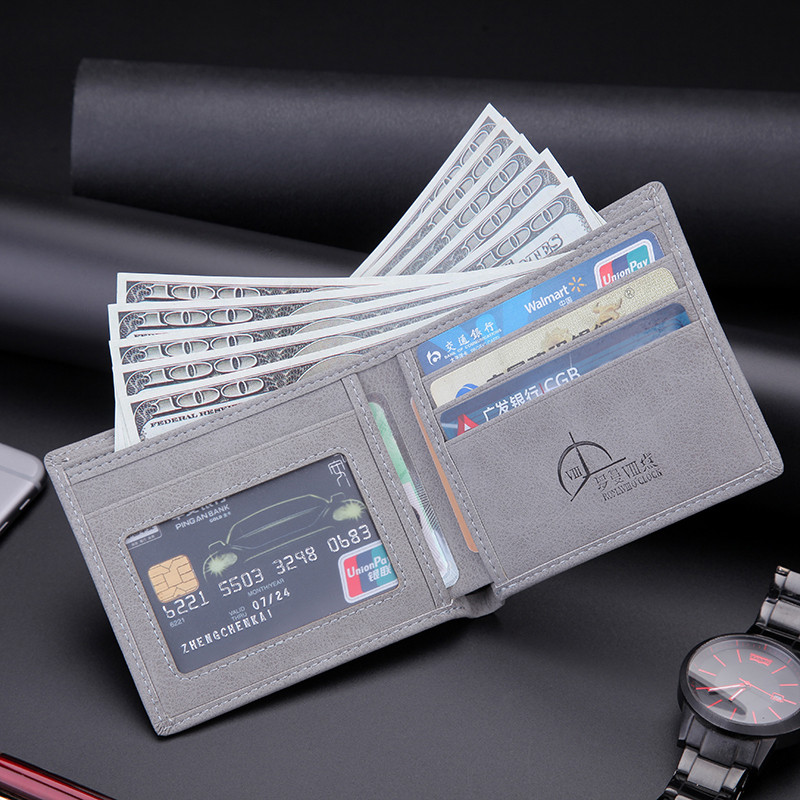 Wallet Men's Short-style Thin-style Retro Student's Leisure Business Wallet Horizontal Wallet Moisture Individual Soft-leather Wallet Youth