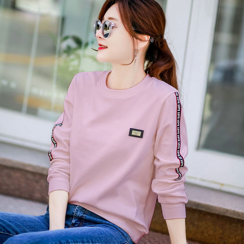 Pure cotton long-sleeved t-shirt womens loose-fitting bottoms with autumn winter spring 2021 new early spring clothes