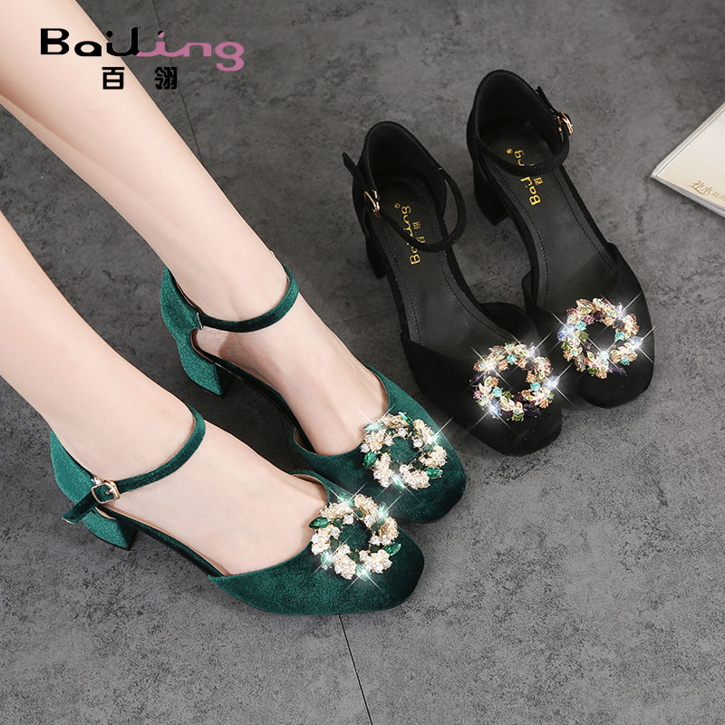 Bailu 2018 summer new square head women's shoes rhinestones Baotou sandals green fashion with small size women's shoes