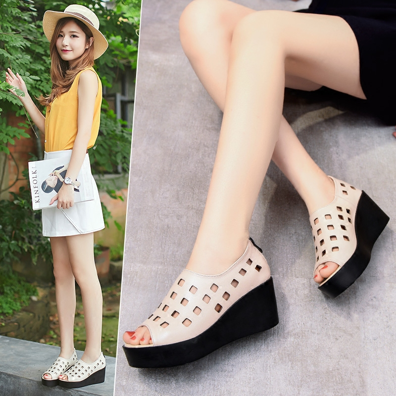 Yonglili 2018 summer new fashion leather high-heeled muffin sandals female thick-bottom hollow fish mouth casual shoes