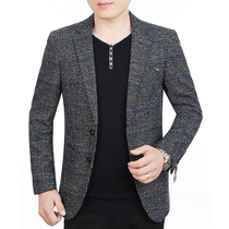 Middle-aged mens dad casual non-Iron slim fit thin paragraph small suit