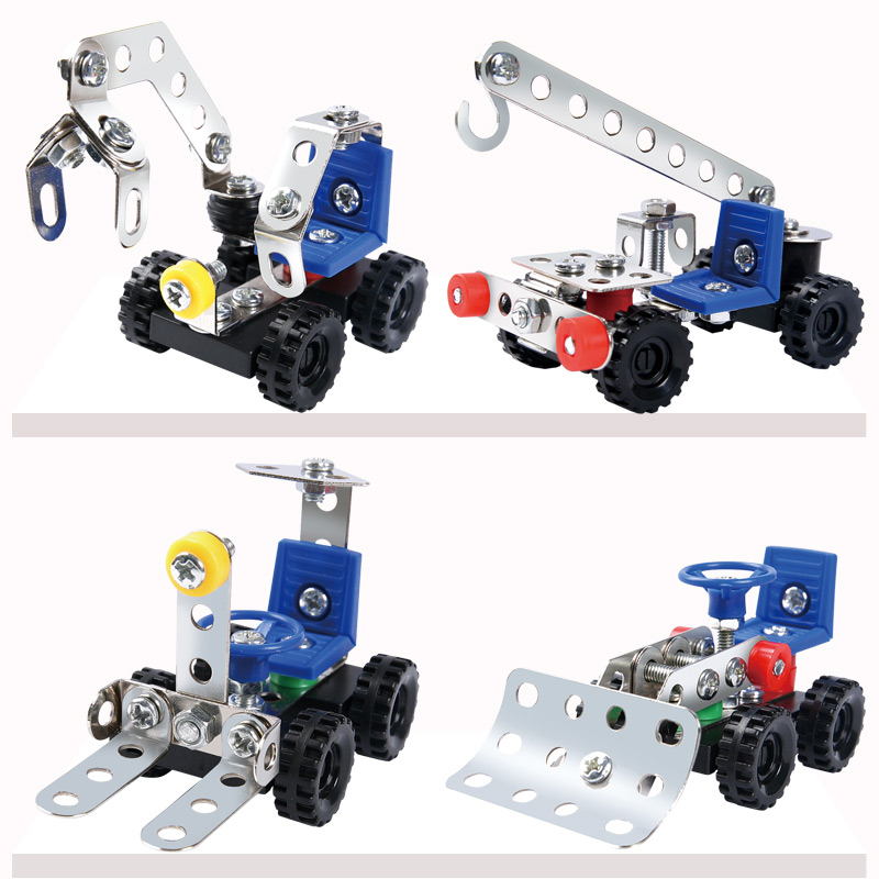 Children's Building Block Toys Educational Intelligence 6-7-8-10 Year Old Boys Removable Nut Combination Metal Assembly Engineering Vehicle