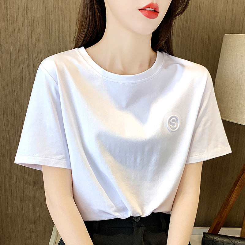 White short-sleeved t-shirt womens 2021 new loose-fitting round-necked bottoms womens mid-sleeved black top in the tide