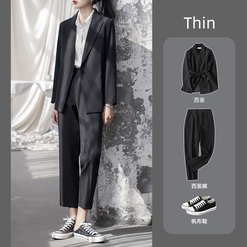 Suit suit Female spring and summer Korean version of college students casual temperament goddess fashion interview formal professional suit