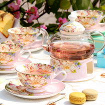 Flower tea cup fruit teapot set set ceramic afternoon tea set English pot tea set home candle heating
