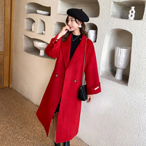 Five seasons home size womens fat sister mm temperament double-sided woolen coat 2021 autumn and winter slim lapel wool jacket