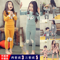 Girls underwear set cotton childrens autumn and winter home clothes pajamas cotton sweater baby autumn clothes warm autumn pants