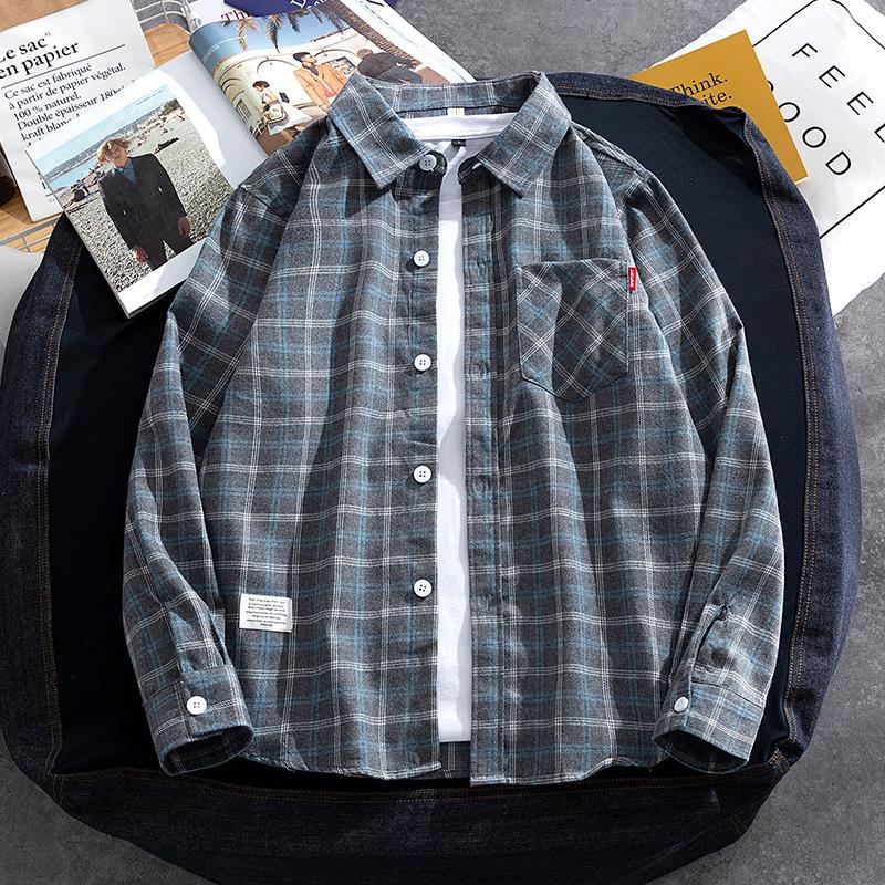 Shirt mens long-sleeved spring and autumn model inside the inch shirt grid shirt Korean version of the trend spring Hong Kong wind Japanese coat mens wear