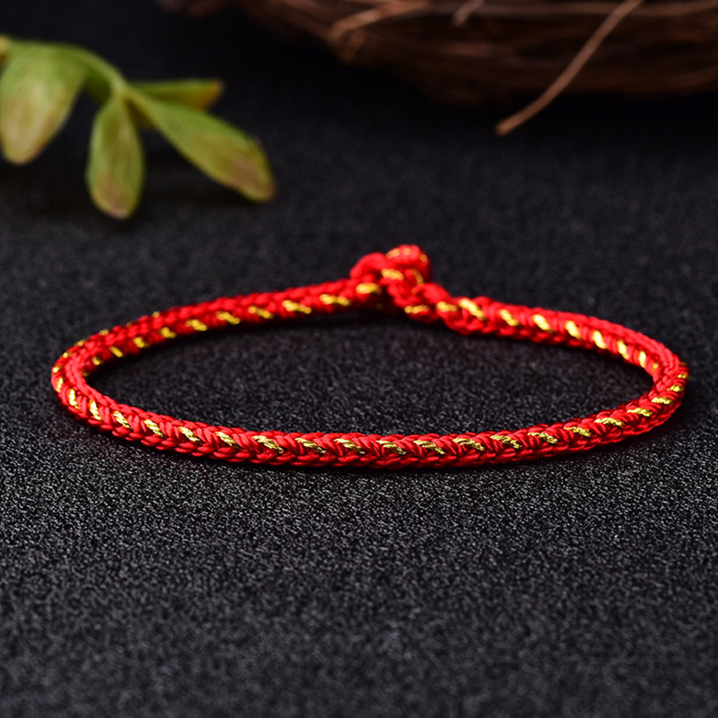 Mika hand rope red plus gold eight strands of rope bracelet pure hand-woven red rope this year students send gifts