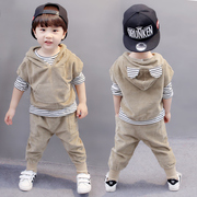 Kids Boys 2017 new autumn three piece suit 1 children 2-3-4-5-6 years old baby autumn Korean tide