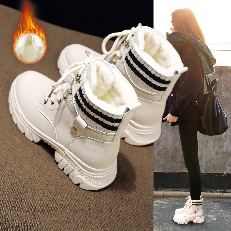 Snow boots women 2020 new women's shoes all-match shoes autumn and winter cotton shoes plus velvet thick Martin boots short boots