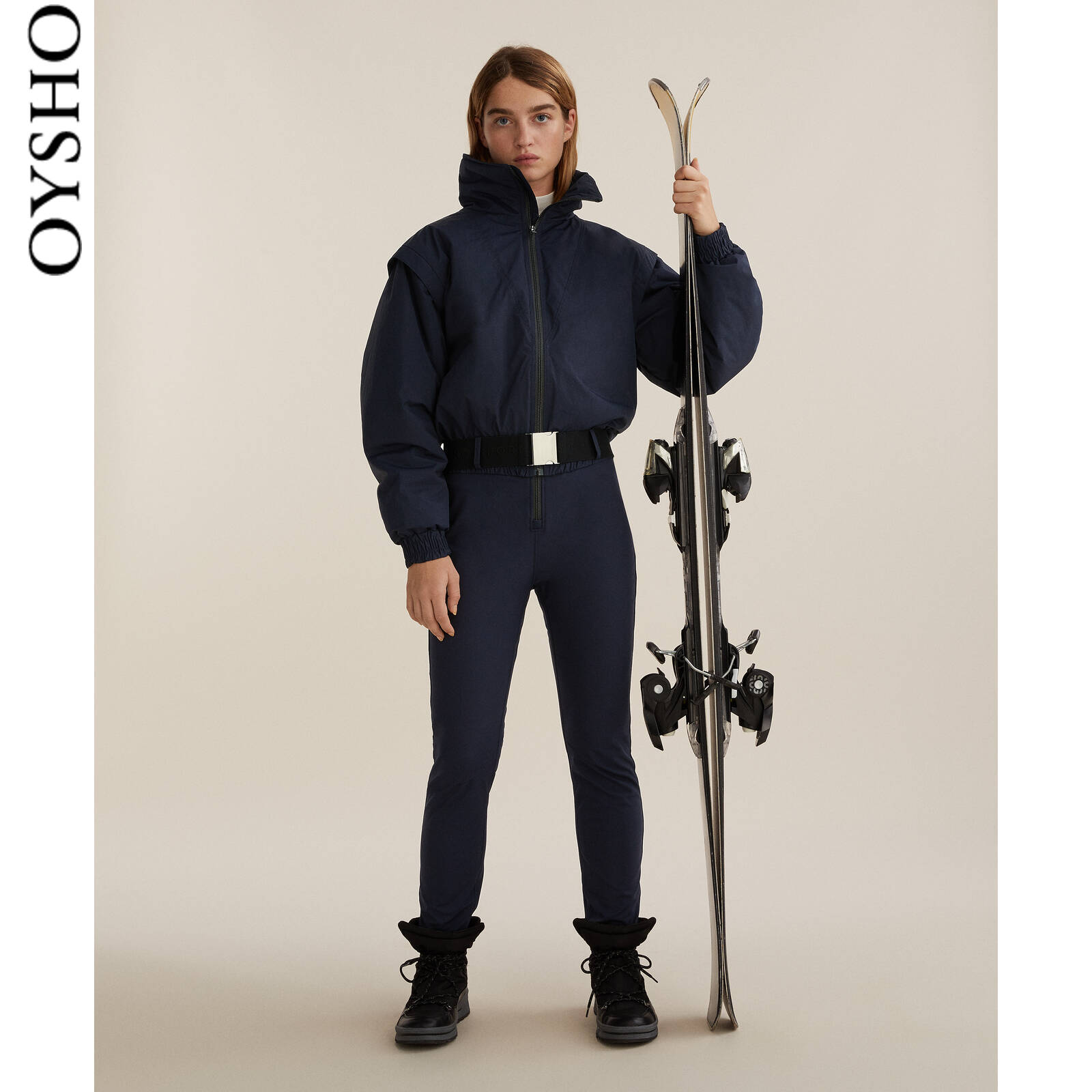 Oysho outdoor waterproof breathable warm high-necked long-sleeved ski jumpsuit sportswear 31389905401