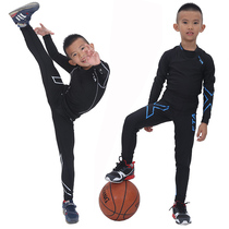 Childrens tights outfit sporting workout clothes with long sleeves mens elastic soccer basketball training and quick-drying at the end of tight pants