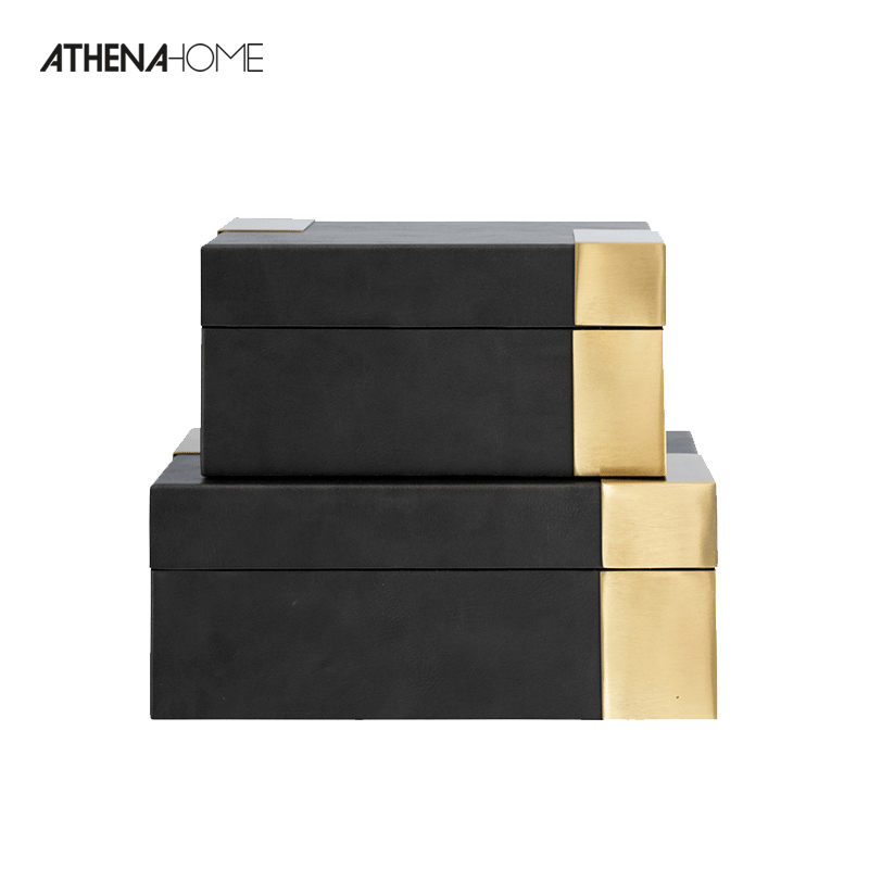 Athena Simple Modern Brass Leather Jewelry Box Sales Center Room Soft Decoration Receiving Box