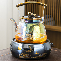 Kunde high temperature resistant shellfish color burning glass beam steaming teapot household small set of electric pottery stove kettle tea boiler set