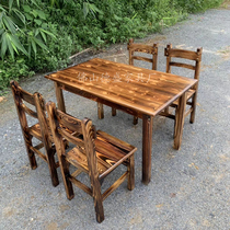Carbonized wood long table Fast food restaurant Charcoal burning table and chair Snack bar Noodle restaurant Solid wood table Antique pine hot pot table combination