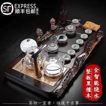 Whole board Black sandalwood tea tray Ceramic purple sand Gongfu tea set Chinese lotus fish carving automatic electrical appliances Household