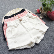 Korean Girls Summer denim shorts hole child children wear loose white cotton all-match hot pants