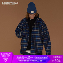 Lisa Guo Chao lostmyhead retro blue plaid coat men and women shirt-padded jacket cotton suit