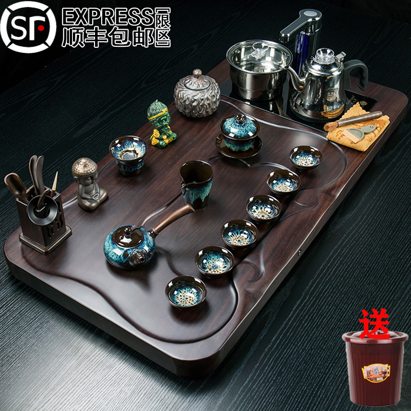 Ebony solid wood tea plate set of tea sets kung fu tea cup tea sea tea tea fully automatic boiling kettle as a whole home