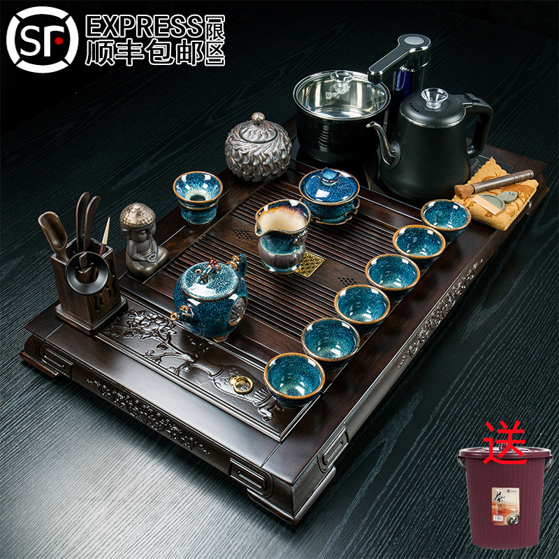 Ebony pear solid wood tea plate tea set of kung fu tea tea cup fully automatic boiling kettle as a whole home