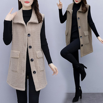 Large size lamb wool vest womens 2020 autumn winter new fashion womens style loose show thin weight vest jacket.