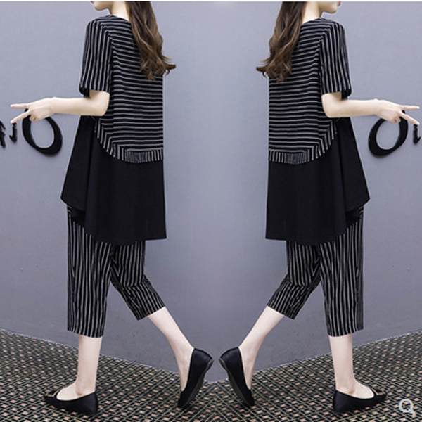 Fat man extra size plus fat womens summer fat version of clothes fat girl seven-point pants show thin two-piece suit